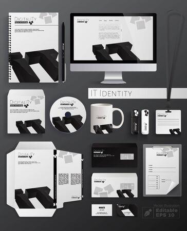 Illustrazione piana di vettore del fumetto di identità IT. Design classico del modello di cancelleria come taccuino, disco CD, tazza, unità flash, busta, biglietto da visita, cartella e carta intestata. Logotipo di Doigilità. Logo