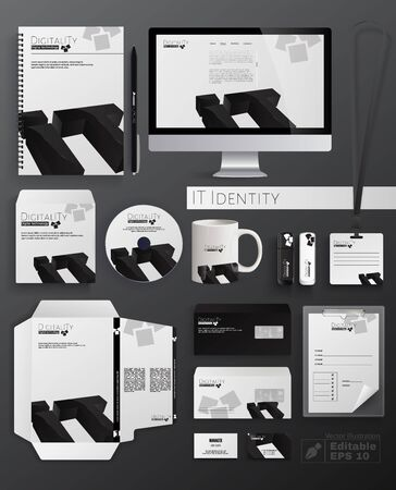 IT-Identität flache Cartoon-Vektor-Illustration. Klassisches Briefpapier-Vorlagendesign wie Notebook, CD, Tasse, Flash-Laufwerk, Umschlag, Visitenkarte, Ordner und Briefkopf. Doigitality-Logo. Logo