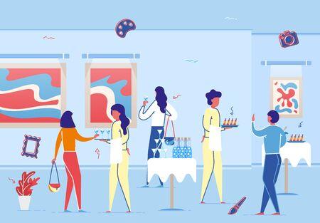Kunstgalerie Eröffnungsfeier Bankett Vektor-Illustration. Leute-Besucher trinken Champagner essen Essen. Kellner mit Tablett-Serve-Buffet. Sammlung zeitgenössischer Kunstwerke. Ausstellung für moderne Künstler