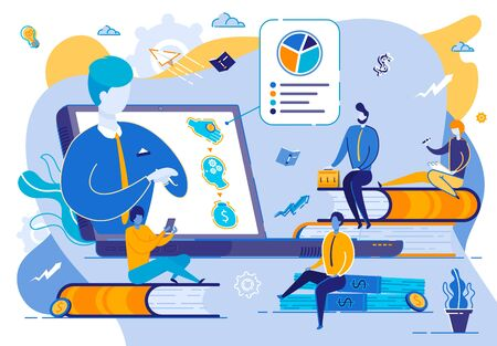 Group of Students Sitting Around Huge Monitor Watching Webinar. Online Education, Teacher Speaking at Computer Desktop Online. Teaching Course or Seminar for Scholars Cartoon Flat Vector Illustration