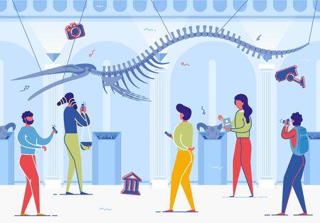 Exposición del Museo de Historia Natural. Ilustración de vector de esqueleto de dinosaurio extinto antiguo. La gente de dibujos animados mira, toma una foto, foto del teléfono móvil. Exposición de Paleontología Arqueología Biología