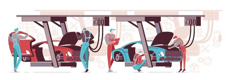 Car Diagnostics Done by Workers. Car Repair Autoservice Center or Garage Interior with Mechanics Testing Lifted Vehicles Flat Cartoon Vector Illustration. Equipment for Reparing Transport.