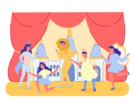 Group of Kids Theater Performance Show on Scene with Red Curtains and Fairy Tale Castle Scenery. Public Park Theater Festival or School Entertainment for Perents. Cartoon Flat Vector Illustration Ilustração Vetorial