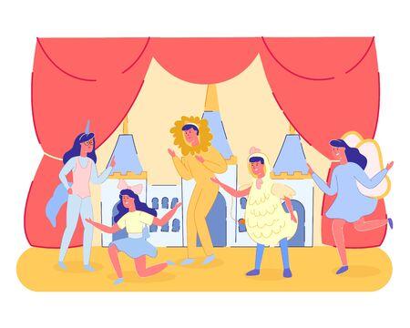 Gruppo di spettacolo teatrale per bambini in scena con tende rosse e scenario del castello delle fiabe. Festival del teatro del parco pubblico o intrattenimento scolastico per Perents. Cartoon piatto illustrazione vettoriale Vettoriali