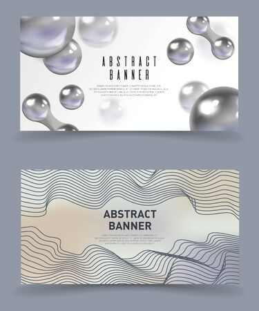 Abstract Banners Set Flat Cartoon Vector Illustration. Minimalistic, Gray Design, Modern, Futuristic Background with Geometric Elements. Metal Balls Connected Together. Curved Lines. Illusztráció