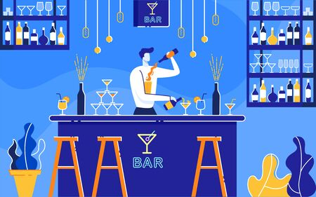 Barman Preparing Two Alcoholic Cocktails at Once at Bar Flat Cartoon Vector Illustration. Bartender Standing at Counter, Pouring Drink into Glasses fron Bottles. Night Club. Shelves with Drinks.