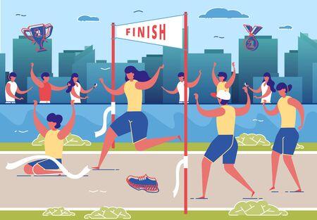 Women Taking Part in Running Competition Flat Cartoon Vector Illustration. Crossing Finish Line on Stadium. Healthy Lifestyle, Sport, Activity, People Jogging Marathon. Winner in Contest.  イラスト・ベクター素材