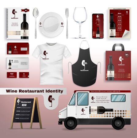 Wina restauracja tożsamości płaskie kreskówka wektor ilustracja. Branding korporacyjny makieta. Realistyczny mundur, logo, menu, wizytówki, ciężarówka, tablica z menu ulicznym. Projektowanie aplikacji, przybory. Logo