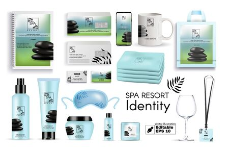 Spa Resort Identity Flat Cartoon Vector Illustration. Branding Corporate Mockup. Realistic Logo with Stones, Business Cards, Envelope, Notebook, Towels, Cup, Packages for Cream, Gels.