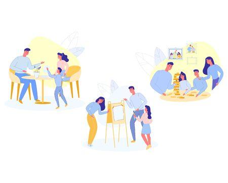 Rodzinna gra domowa, rodzice i dzieci bawią się razem w grach firmowych. Ojciec, matka i córka malowanie na sztalugach i papierze, wypoczynek, weekend wolny czas kreskówka płaskie wektor ilustracja