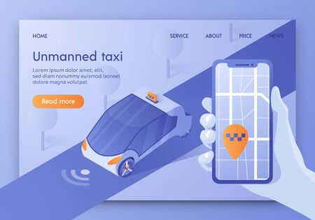 Unmanned Taxi Banner, Autonomous Transport, Driverless Car. Future Smart Technology, Smartphone with Application for Self-driving Auto on Screen, Gps Destination Place, Isometric Vector Illustration