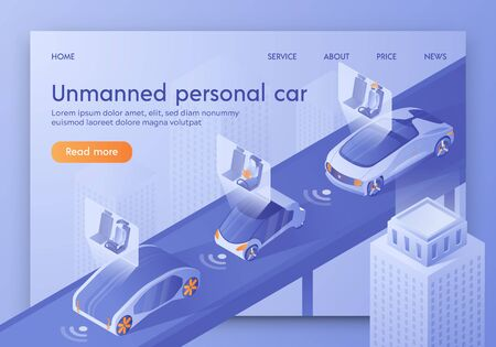 Unmanned Personal Car Banner, Artificial Intelligence Control Vehicle with Passengers Sitting in Cockpit. Smart Safety Autonomous Futuristic Automobile in City Traffic Isometric 3d Vector Illustration Иллюстрация