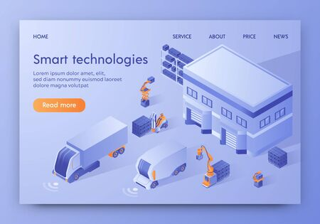 Smart Technologies Banner. Self Driving Automatic Guided Vehicle Trucks, Loaders, Forklift Stand Near Warehouse. Commercial Delivery Service, Business Logistic Company Isometric 3d Vector Illustration