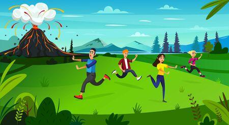 Scary Cartoon People Run, Volcano Mountain Erupt Vector Illustration. Nature Disaster, Geology Catastrophe, Natural Cataclysm, Fire Hazard. Volcanic Eruption, Molten Lava Flow, Earthquake Risk