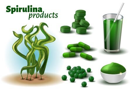 Realistic 3D Spirulina Products Advertisement. Raw Seaweed, Cocktail Drink, Pills, Capsule, Powder Vector Banner. Antioxidant Superfood, Vegetarian Dietary Supplement, Alternative Medicine