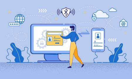 Cartoon Man Use Multi-factor Authentication on Computer Screen Vector Illustration. Mobile Phone, Digital Device Two-step Verification. Internet Security, Login Password Safety, Access Protection