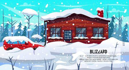 Winter Season Blizzard Warning. Car House Building in Forest Covered Snow Vector Illustration. Snowstorm Snowfall Weather. Dangerous Slippery Road Snowdrift Street. Natural Disaster Ilustração