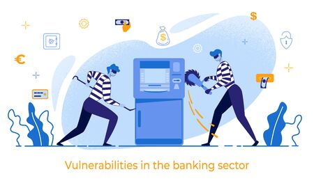 Cartoon Thieves Damage ATM Vector Illustration. Man in Mask Robber Burglar Steal Money. Vulnerabilities in Banking Sector Banner. Bank Terminal Safety, Finance Security, Robbery Danger