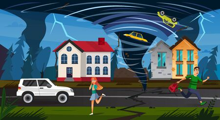 Natural Disaster. Scary People Run Street, Tornado Funnel Whirlwind Crush Car in Air, Damage Building Vector Illustration. Nature Catastrophe, Hurricane Danger, Storm Weather Warning Illustration