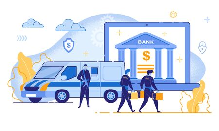 Cartoon People Money Collection, Bank Building on Notebook Screen Vector Illustration. Online Banking Access Protection, Financial Internet Security, Electronic Payment Safety. Padlock Shield Symbols