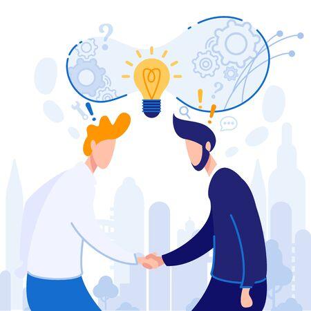 Affiche de partage d'idées sur Idea Cartoon Flat. Les hommes se serrent la main. Accord de coopération et d'échange d'idées. Idée conceptuelle de développement conjoint pour une entreprise prospère. Illustration vectorielle.