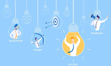 Flyer Brainstorming for Target Successful Teamwork. Incandescent Bulbs with Different Content and Inscriptions. In Non-sacred Lamp, Man Aims at Target from Bow. In Luminous Lamp, Man Rejoices.  イラスト・ベクター素材