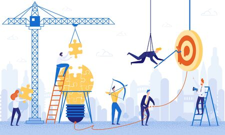 Banner Team Work on Building Ideas Cartoon Flat. Construction Site with Tower Crane. Woman from Large Puzzle Pieces Folds Light Bulb. Boss Leads Process with Help Loudspeaker. Vector Illustration. Çizim