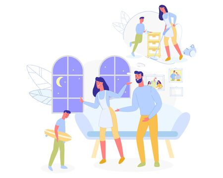 Mother and Father Scolding Son he Come Late from Walk and not Help in Household Working at Home. Family Situation, Raising and Education of Children. Parents and Kid. Cartoon Flat Vector Illustration  イラスト・ベクター素材