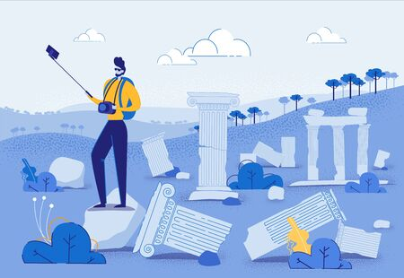 Tourist with Photo Camera Taking Selfie on Mobile Phone with Stick Flat Cartoon Vector Illustration. Man Photographer near Ancient Ruins. Broken Buildings, Travelling Concept, Vintage Columns.  イラスト・ベクター素材