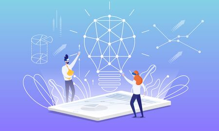 Flyer Idea Building with Virtual Reality Cartoon. On Screen an Electronic Device Plan for Constructing an Idea. Man and Woman with Glasses Virtual Reality are Building Big Lamp. Vector Illustration.