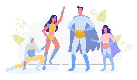 Superhelden-Familie, Eltern und Kinder in Superhelden-Kostümen, Isolated on White Background. Mutter, Vater, Tochter und Sohn, Wonder Mom, Super Dad und Kinderhelden. Flache Vektorillustration der Karikatur Vektorgrafik
