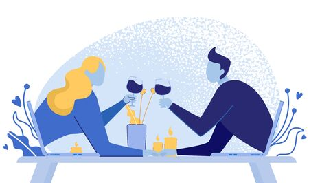 Virtual Relationships, Internet Dating Chat Using Gadgets such as Laptops Flat Cartoon Vector Illustration. Man and Woman Having Romantic Dinner with Wine Glasses and Burning Candels.  イラスト・ベクター素材