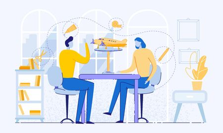 Man and Woman Making Handicraft Flat Cartoon Vector Illustration. Creating Airplane or Aircraft with Equipment such as Wood or Paper, Pencil, Scotch Tape, Glue, Scissors. People Sitting at Table.