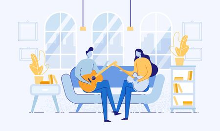 Girl and Boy Sitting in Room on Sofa and Playing Guitar Flat Cartoon Vector Illustration. Couple Performing Acoustic Music in Romantic Atmosphere. Indoor Interior with Couch and Shelves.