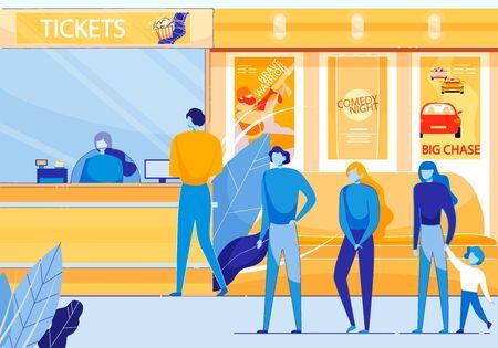 Kinokasse Verkauf von Tickets für Film Cartoon Flat Vector Illustartion. Menschen stehen in der Schlange, Warteschlange an der Kinokasse für den kommenden Film. Kinosaal mit Comedy, Abenteuer, Actionfilmen.