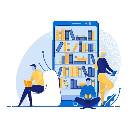 Online Mobile Library Concept Flat Cartoon Vector Illustration. Book Shelf in Smart Phone. World Knowledge in Pocket. Young Girl and Boys Reading Using Gadgets or Devices. Digital learning.