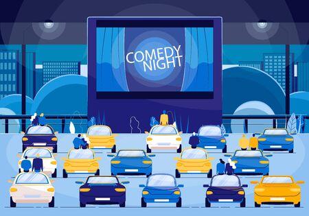 Film commedia notte all'aperto piatto fumetto illustrazione vettoriale. Persone sedute in auto e guardare film divertenti sul grande schermo. Cinema all'aperto, cinema all'aperto. Coppie su evento romantico. Vettoriali