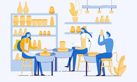Ceramica Hobby o professione piatto del fumetto. Terracotta artigianale, uomo e donna che creano pentole e laboratorio di ceramica. Maestri della Ceramica, Artisti. Mensole con vasi.