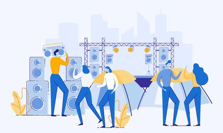 People Having Rest on Music Festival Flat Cartoon Vector Illustration. Summer Camping DJ Fest. Man and Woman on Campground. Open Air Concert. Summertime Outdoor Activity. Stage with Speakers.