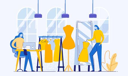 Process of Designing and Making Clothes Flat Cartoon Vector Illustration. Dressmaker Creating Things Working with Thread Machine, Clothing Designer or Tailor Working at Atelier. Mirror, Mannequin. Stock Illustratie