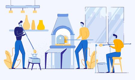 Man Characters Working with Glass Flat Cartoon Vector Illustration. Male Glassblower or Worker Melting Glass in Furnace, Hobby or Profession. Boy Blowing Vessel in Studio. Shelves with Works.