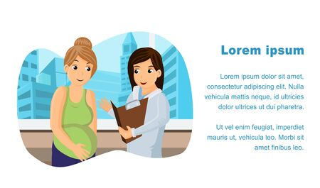 Prenatal Medical Center Web Banner Vector Template. Therapist Visit Poster Layout with Text Space. Gynecologist, Obstetrician Appointment, Check-Up Flat Illustration. Cartoon Patient at Doctor Office