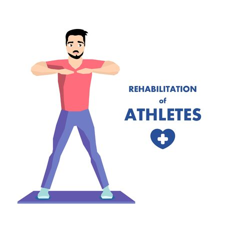 Special Workout for Athlete Rehabilitation Advert. Rehab Center for Recovery after Injure or Trauma and Medical Conditions Stabilization. Flat Cartoon Man Exercising. Vector Isolated Illustration