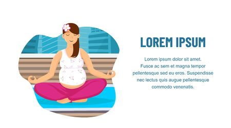 Prenatal Yoga Center Web Banner Vector Template. Relaxed Pregnant Lady Practising Breathing Meditation. Pilates Class, Course. Woman Sitting in Lotus Pose on Gym Mat Cartoon Illustration  イラスト・ベクター素材