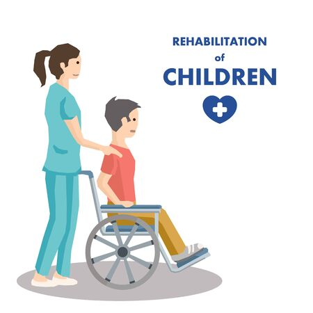 Rehabilitation Center for Children Advertisement. Cartoon Young Female Doctor Takes Care of Boy. Woman Physiotherapist Helps Child with Disabilities on Wheelchair. Vector Isolated Flat Illustration