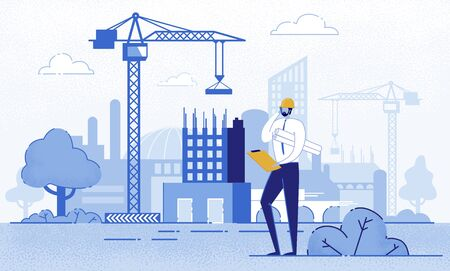 Architect Holding Blueprints near Construction Flat Cartoon Vector Illustration. Engineer Talking on Phone near New Building. Man with Project in Helmet and Suit. Crane Constructing House. Çizim
