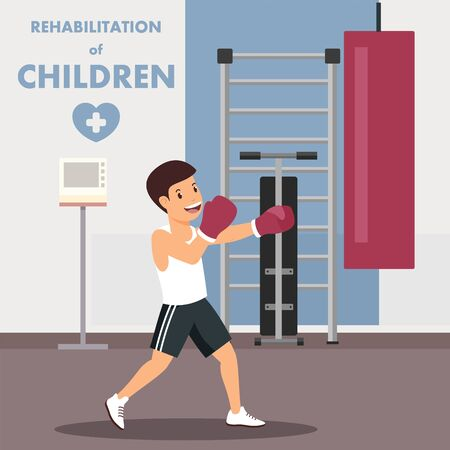 Children Rehabilitation with Boxing Workout Advert. Boy Punches Sand Sack. Flat Cartoon Sport Kid Boxer Character. Recovery after Injure. Child Trains in Physiotherapeutic Room. Vector Illustration