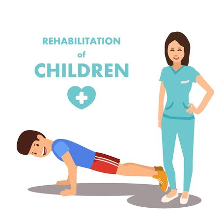 Physical Development and Rehab for Children Advert. Poster Presenting Rehabilitation Center and Professional Staff. Woman Doctor and Boy Doing Push-ups. Vector Illustration Flat Cartoon  イラスト・ベクター素材