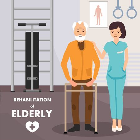 Rehabilitation and Physiotherapy for Elderly Advertising Poster. Seniors in Gym Doing Rehabilitation Exercises on Frame Walker with Personal Instructor. Vector Flat Cartoon Illustration  イラスト・ベクター素材