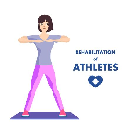 Athlete Rehabilitation Workout Advertising Poster. Flat Happy Smiling Woman Cartoon Character Doing Exercise Body Turning. Recovery after Injure in Rehab Center. Vector Isolated Illustration